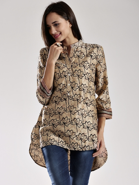 Fabindia Brown Printed Silk Kurti