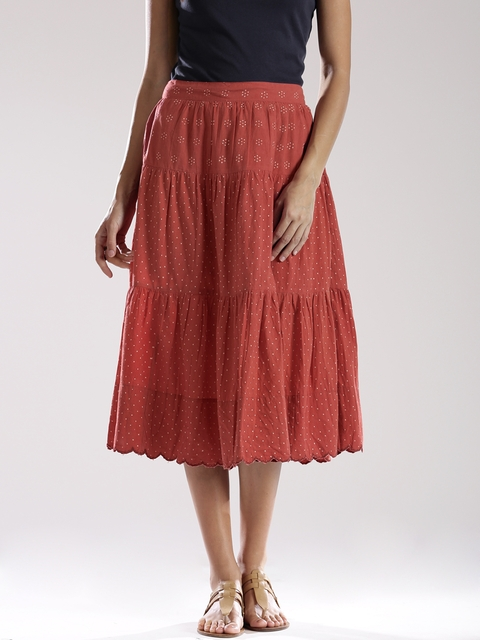 Fabindia Rust Orange Block Print Midi Skirt