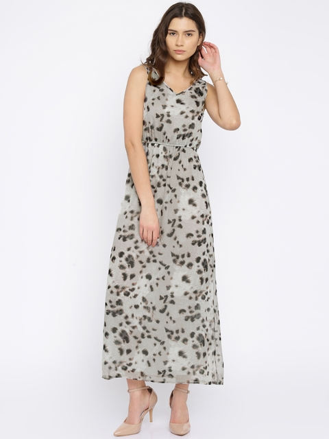 Vero Moda Grey Animal Print Maxi Dress
