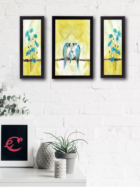 eCraftIndia Set of 3 Multicoloured Flying Birds UV Wall Art