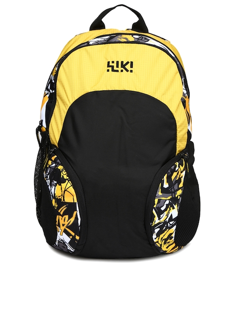 Wiki by Wildcraft Unisex Yellow & Black Printed Backpack