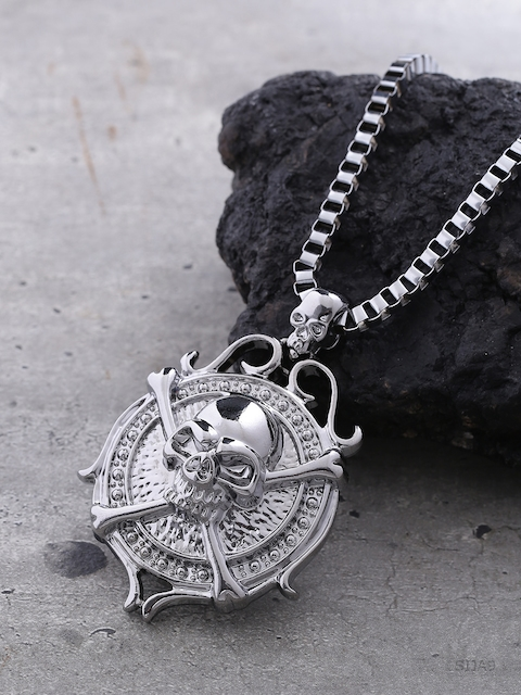 Dare by Voylla Men Silver-Plated Pendant with Chain