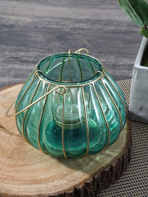 Pure Home and Living Blue Dome Shaped Glass Lantern