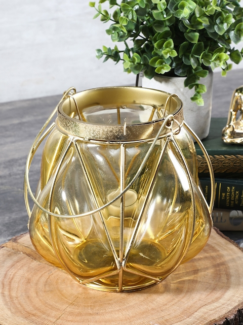 Pure Home and Living Yellow Bubble Glass Lantern