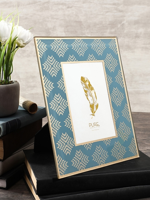 Pure Home and Living Blue & Gold-Toned Large Photo Frame