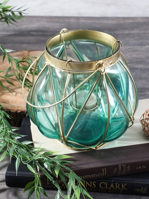 Pure Home and Living Blue Bubble Glass Lantern