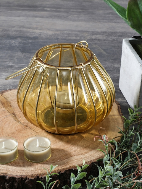 Pure Home and Living Yellow Dome Shaped Glass Lantern