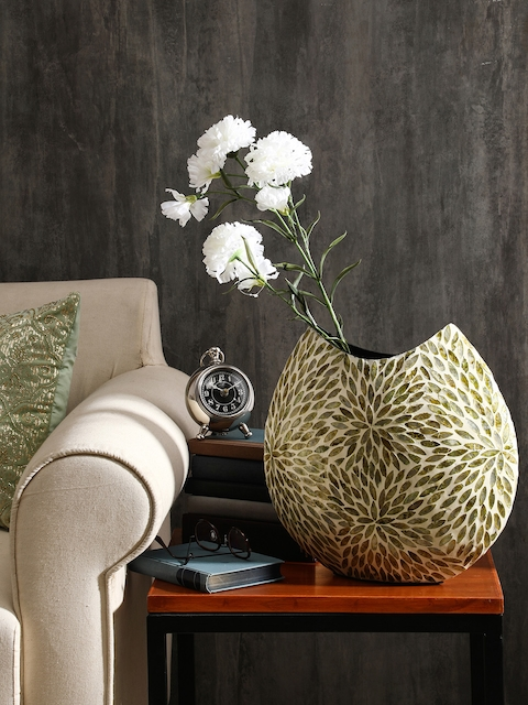 Pure Home and Living Green Sea Shell Accents Flower Vase