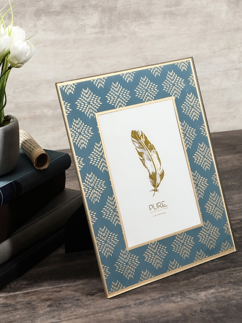 Pure Home and Living Blue & Gold-Toned Small Photo Frame
