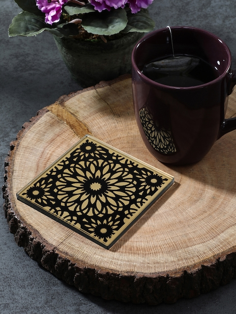 Pure Home and Living Set of 4 Black & Gold-Toned Printed Coasters