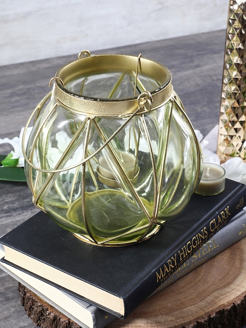 Pure Home and Living Green Bubble Glass Lantern