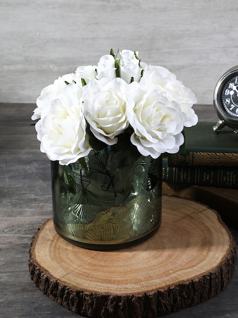 Pure Home and Living Green Glass Flower Vase
