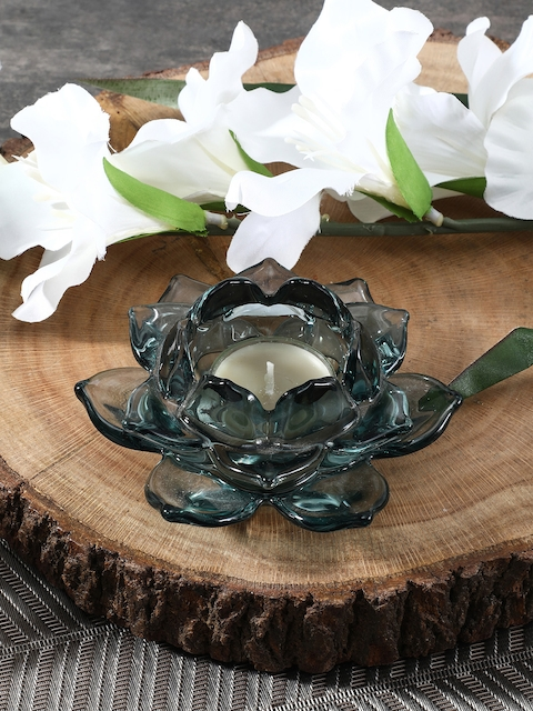 Pure Home and Living Set of 2 Blue Glass Tealight Holder
