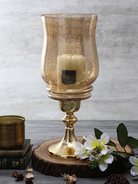 Pure Home and Living Gold-Toned Medium Glass Candle Holder