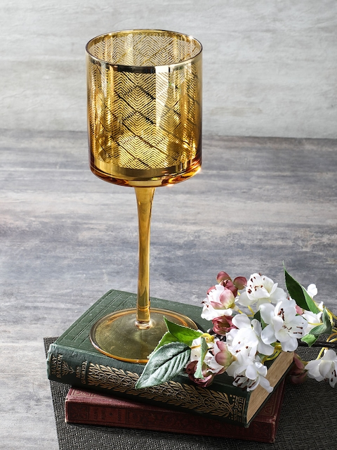 Pure Home and Living Gold-Toned Large Glass Candle Holder