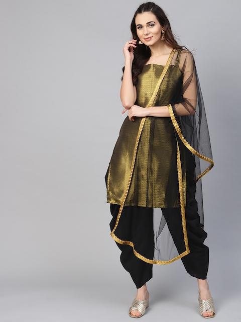Inddus Black & Golden Silk Blend Unstitched Dress Material