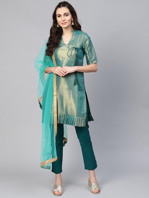 Inddus Blue & Golden Silk Blend Unstitched Dress Material