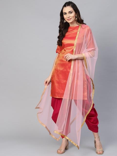 Inddus Pink & Golden Silk Blend Unstitched Dress Material