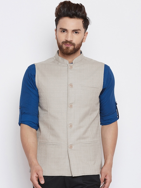 even Men Beige Checked Woven Nehru Jacket