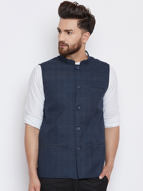 even Men Blue Checked Woven Nehru Jacket