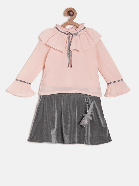 Peppermint Girls Pink & Grey Solid Top with Skirt