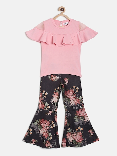 Peppermint Girls Peach-Coloured & Black Solid Top with Flared Trousers