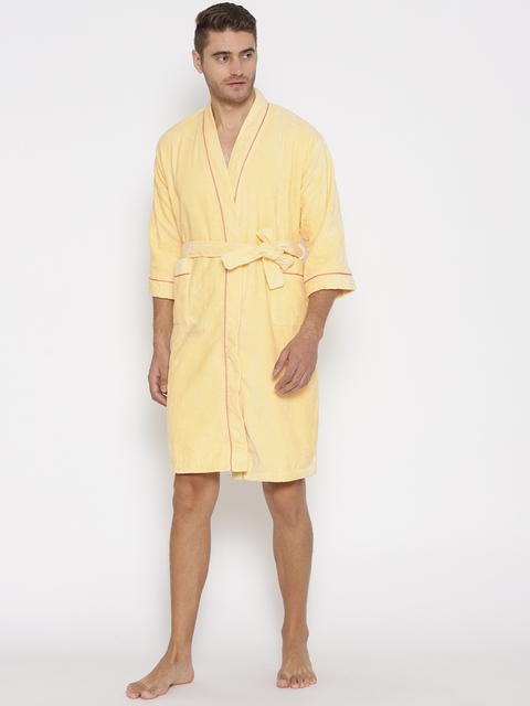 SPACES Unisex Yellow Solid Bath Robe 1034509