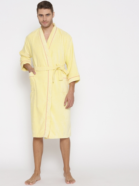 SPACES Unisex Yellow Solid Bath Robe 1034510