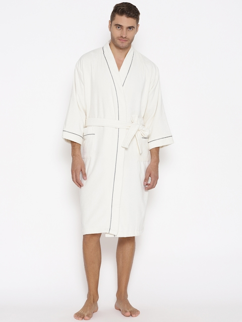 SPACES Unisex White Solid Bath Robe 1034502