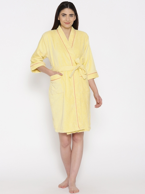SPACES Unisex Yellow Solid Bath Robe 1034508