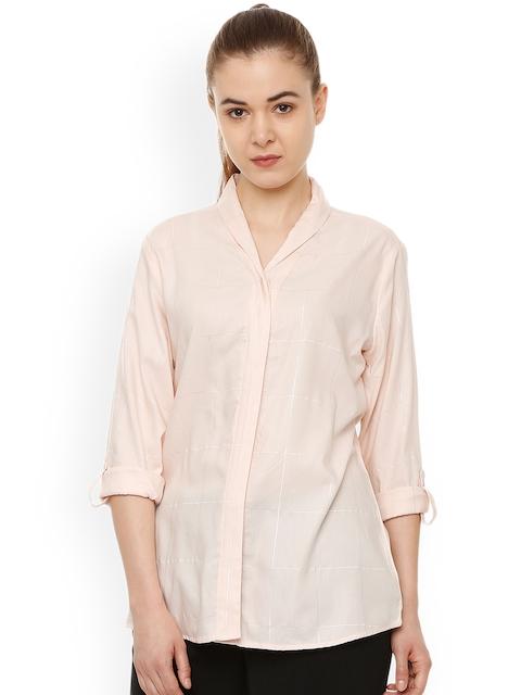 Van Heusen Woman Beige Regular Fit Checked Casual Shirt