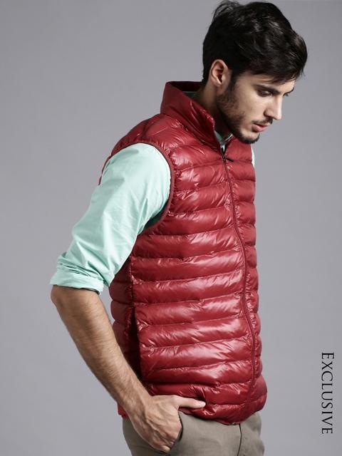 ETHER Red Hooded Ultra Light Sleeveless Jacket