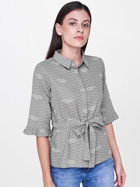 AND Women Grey Regular Fit Self Design Casual Shirt