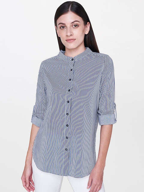 AND Women Blue & White Regular Fit Striped Casual Shirt