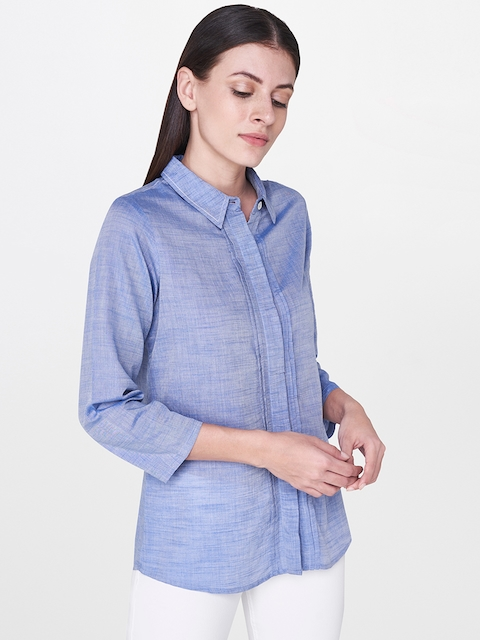 AND Women Blue Regular Fit Solid Casual Shirt