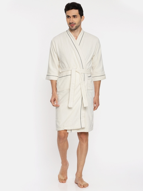 SPACES Unisex Off-White Solid Bath Robe
