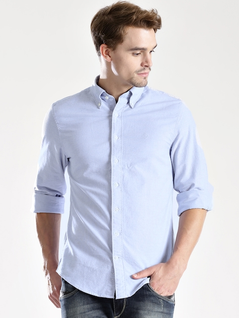 GANT Blue Fitted Smart Casual Shirt