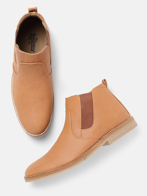 Roadster Men Tan Brown Perforated Mid-Top Flat Boots