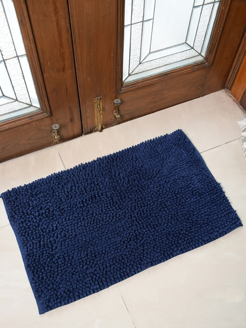 Avira Home Blue Solid 1600GSM Microfiber Chennile Doormat