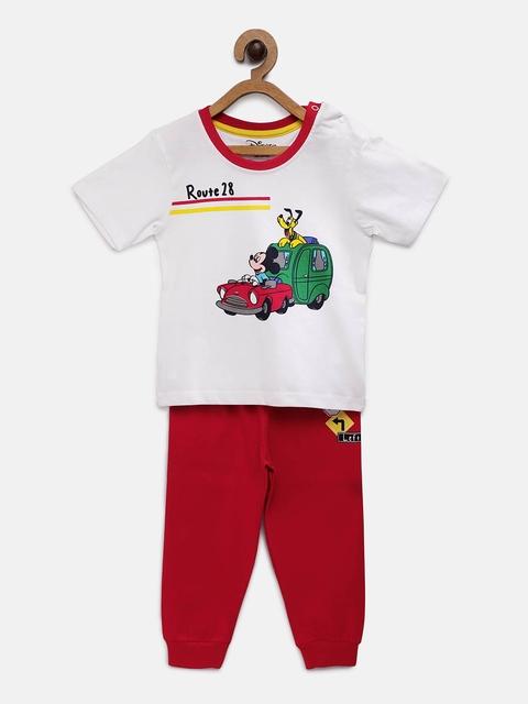 TAMBOURINE Boys White & Red Printed T-shirt with Shorts