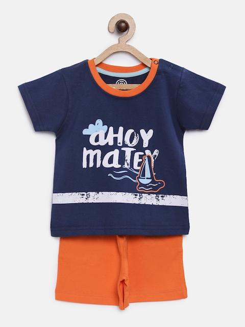 TAMBOURINE Boys Navy Blue & Orange Printed T-shirt with Shorts