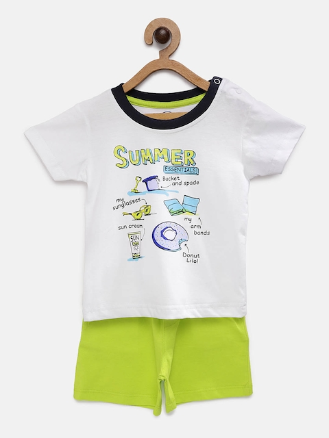 TAMBOURINE Boys White & Lime Green Printed T-shirt with Shorts