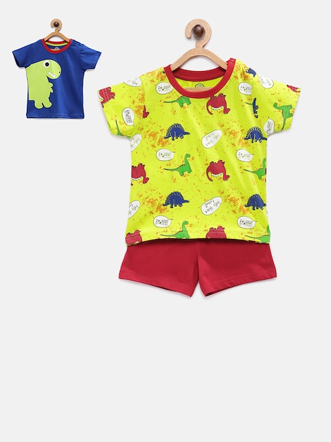 TAMBOURINE Boys Printed Yellow & Red T-shirt with Shorts