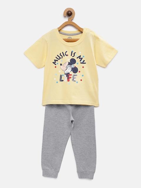 TAMBOURINE Boys Yellow Printed T-shirt with Pyjamas DHS- DISBCOO-036