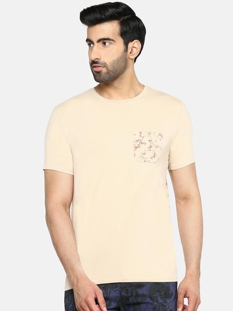 Blackberrys Men Beige & Maroon Round Neck T-shirt with Printed Back