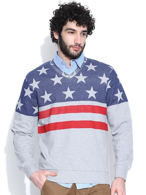 IZOD Grey Melange & Blue Printed Sweatshirt
