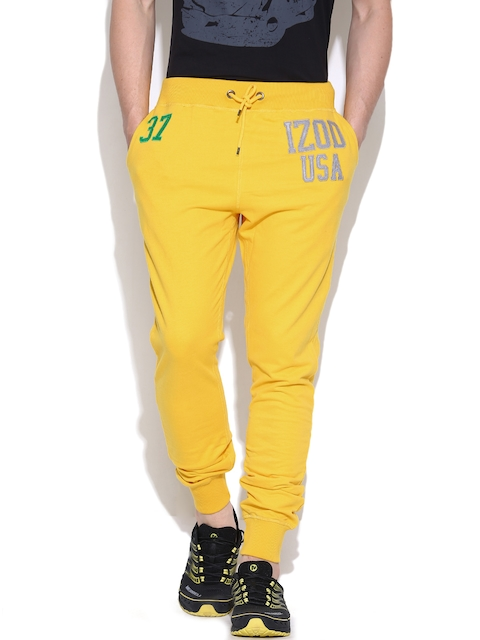 IZOD Yellow Track Pants with Applique Detail