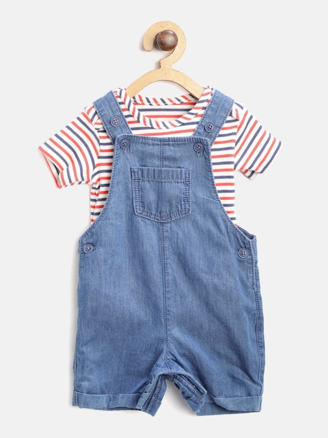 Marks & Spencer Kids Navy Blue & White Striped Bodysuit with Chambray Dungarees