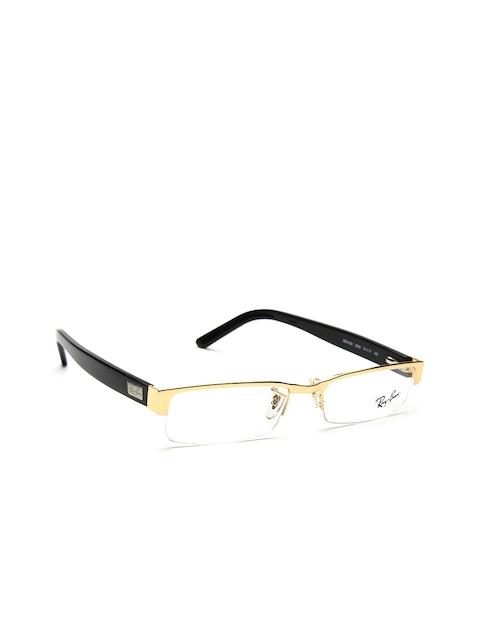 Ray-Ban Unisex Gold-Toned & Black Rectangular Half-Rim Frames 0RX6182I250051