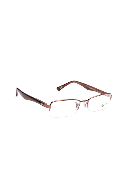 Ray-Ban Unisex Bronze-Toned & Brown Rectangular Half-Rim Frames 0RX6195I251151